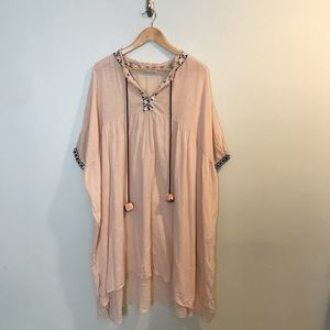 ZARA Trafaluc Blush Pink Pom Pom Embroidered Tunic